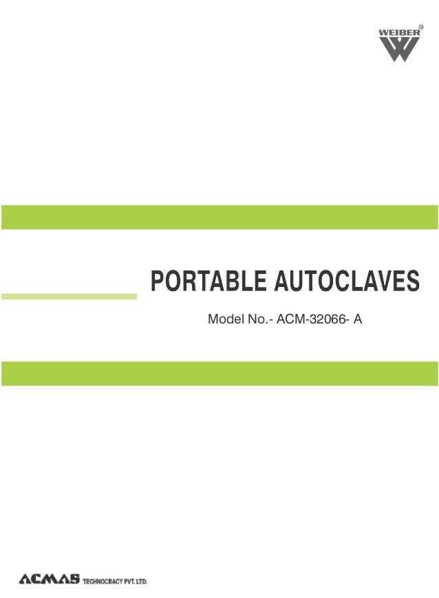 R PORTABLE AUTOCLAVES Model No.- ACM-32066- A