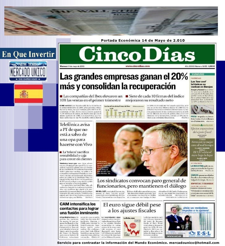 Portada Económica 14/05/2.010