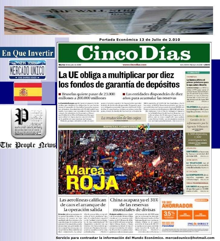 Portada Económica 13/07/2.010