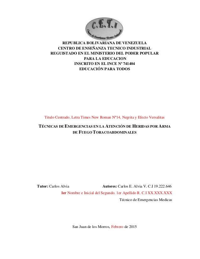 Portada proyecto de tecnico de emergencias medicas for Proyecto tecnico ejemplos