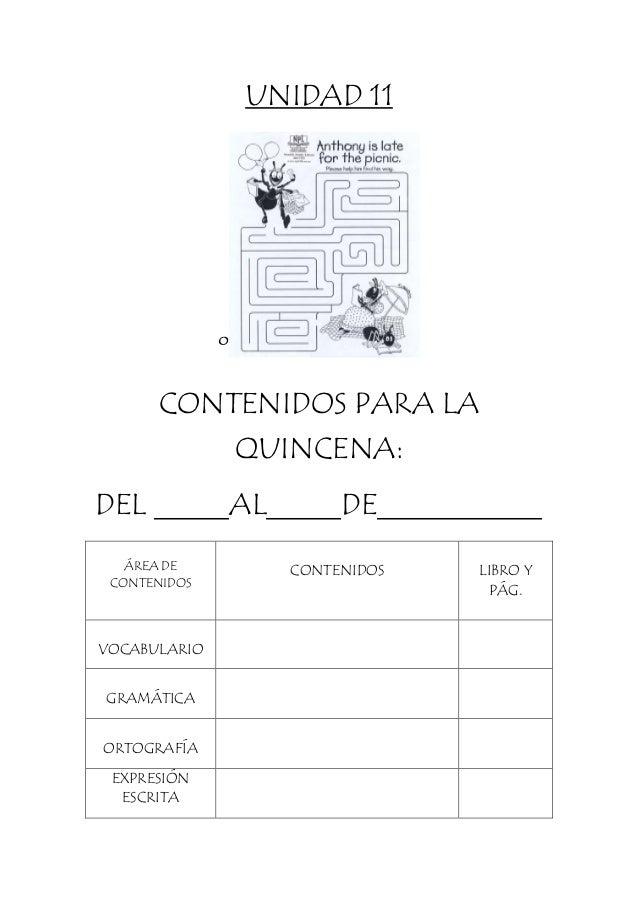 UNIDAD 11 º CONTENIDOS PARA LA QUINCENA: DEL _____AL_____DE___________ ÁREA DE CONTENIDOS CONTENIDOS LIBRO Y PÁG. VOCABULA...
