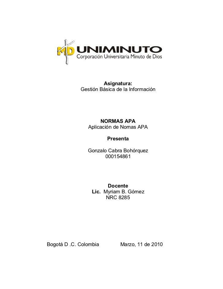 Asignatura:              Gestión Básica de la Información                          NORMAS APA                 Aplicación d...