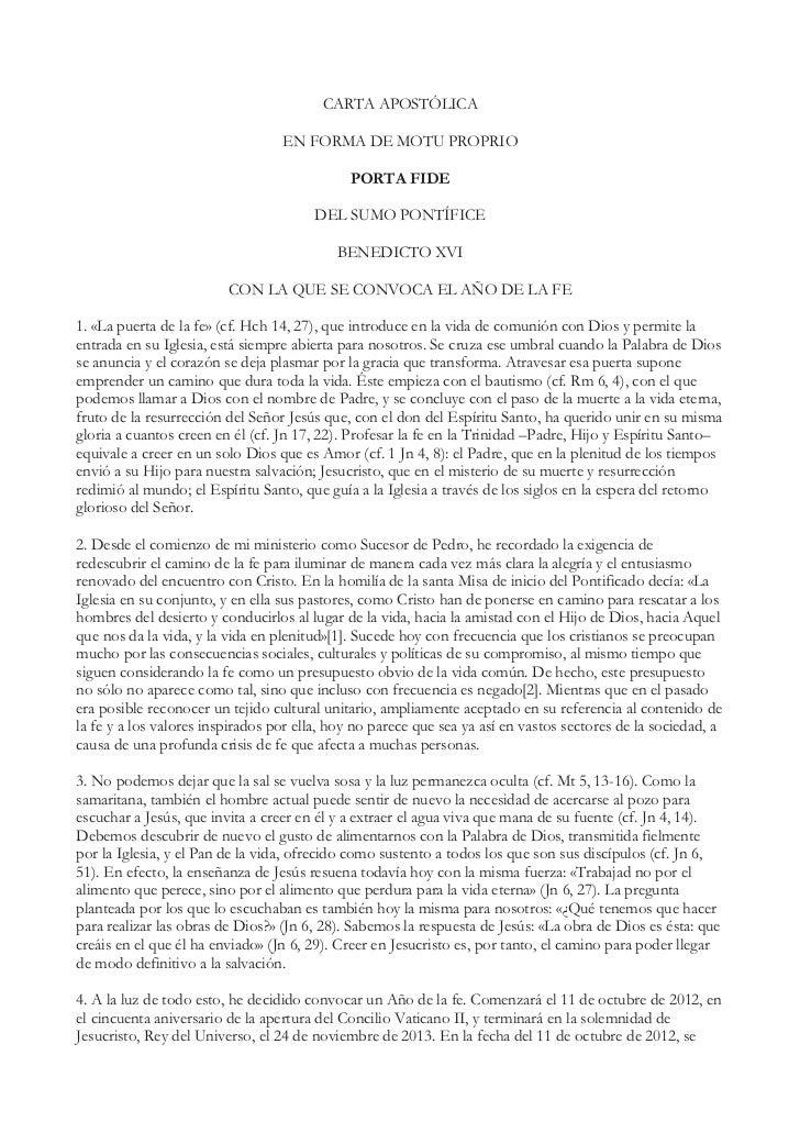 CARTA APOSTÓLICA                                  EN FORMA DE MOTU PROPRIO                                             POR...