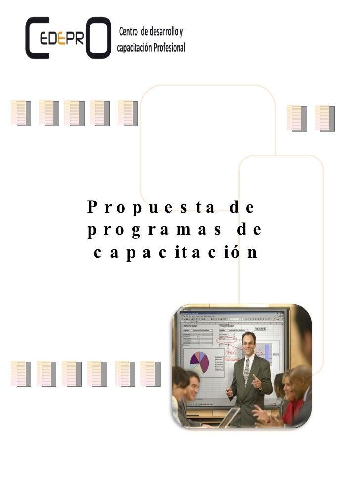 Propuesta de  programas de capacitación