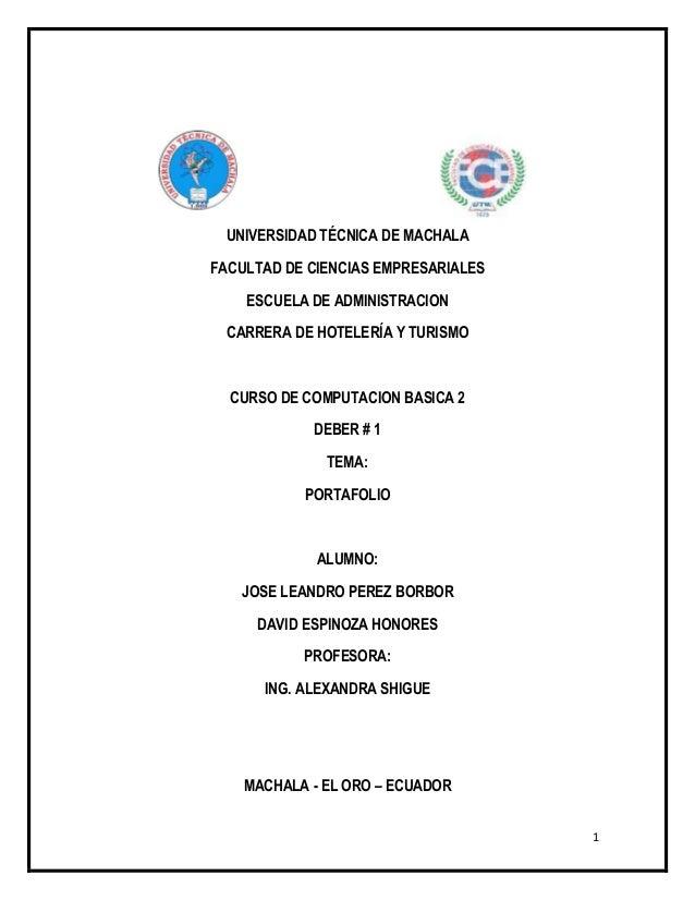 UNIVERSIDAD TÉCNICA DE MACHALAFACULTAD DE CIENCIAS EMPRESARIALES    ESCUELA DE ADMINISTRACION  CARRERA DE HOTELERÍA Y TURI...