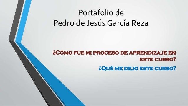 Portafolio de Pedro de Jesús García Reza ¿Cómo fue mi proceso de aprendizaje en este curso? ¿Qué me dejo este curso?