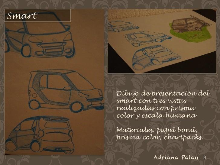 Smart        Dibujo de presentación del        smart con tres vistas        realizadas con prisma        color y escala hu...
