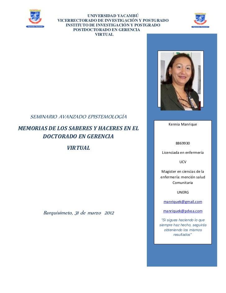 UNIVERSIDAD YACAMBÚ              VICERRECTORADO DE INVESTIGACIÓN Y POSTGRADO                 INSTITUTO DE INVESTIGACIÓN Y ...