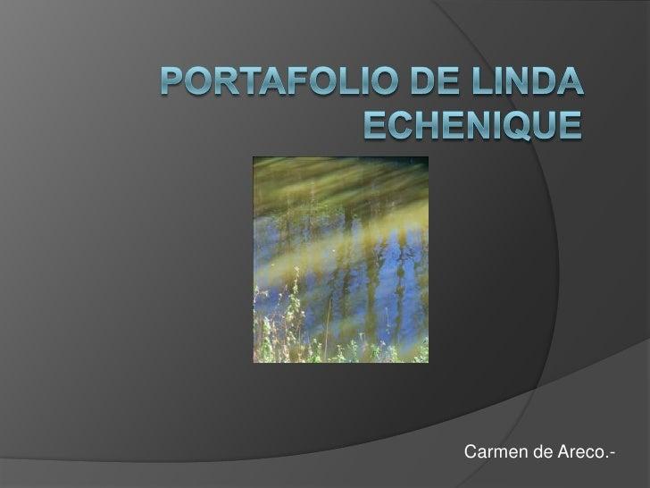 Portafolio de LINDA ECHENIQUE<br />Carmen de Areco.-<br />