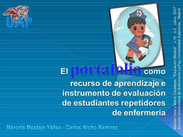 """Manuel Vera y María Canalejas. """"Educación Médica""""  v.10  n.2  Junio, 2007 Escuela Universitaria de Enfermería La Paz, Univ..."""