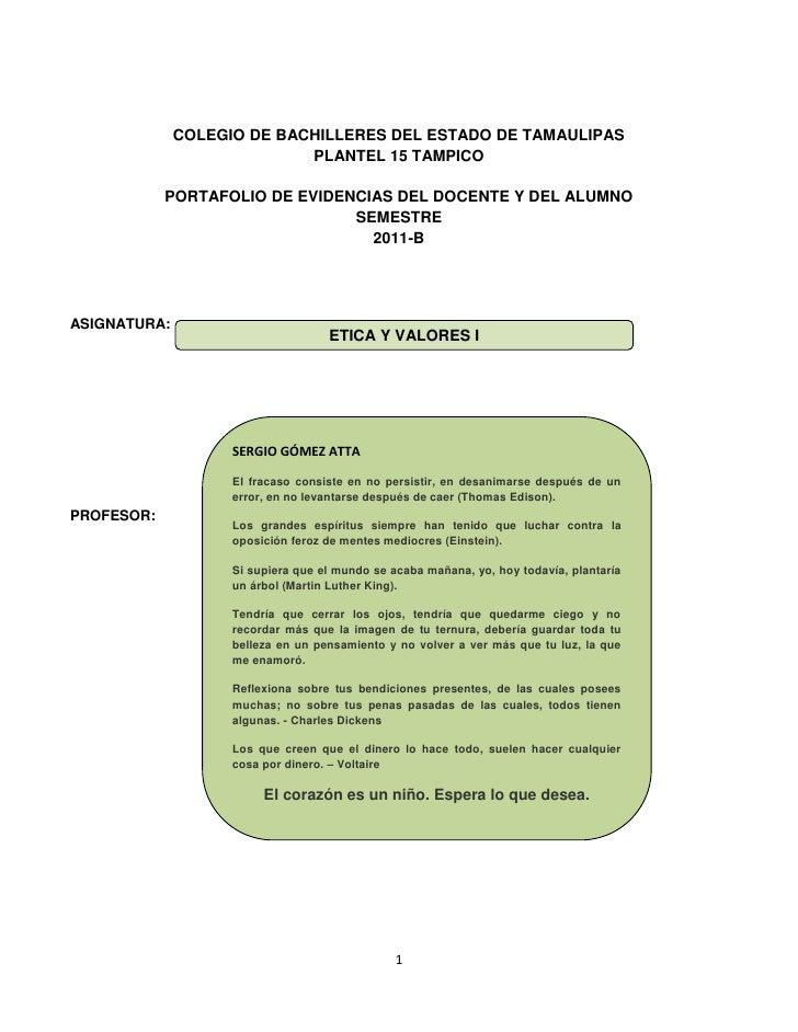 COLEGIO DE BACHILLERES DEL ESTADO DE TAMAULIPAS                            PLANTEL 15 TAMPICO            PORTAFOLIO DE EVI...