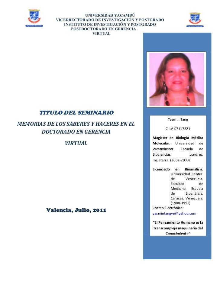 UNIVERSIDAD YACAMBÚ            VICERRECTORADO DE INVESTIGACIÓN Y POSTGRADO               INSTITUTO DE INVESTIGACIÓN Y POST...