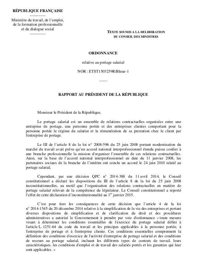 ORDONNANCE relative au portage salarial NOR : ETST1503259R/Bleue-1 ------ RAPPORT AU PRÉSIDENT DE LA RÉPUBLIQUE Monsieur l...