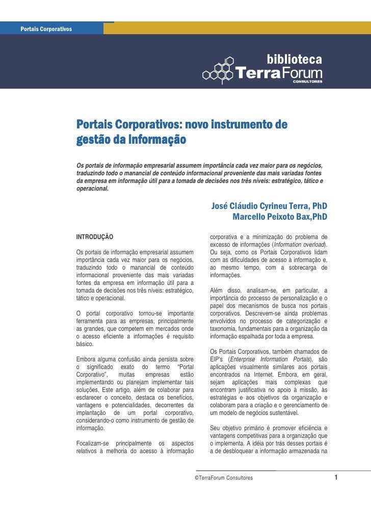 Portais Corporativos: novo instrumento de gestao da informacao