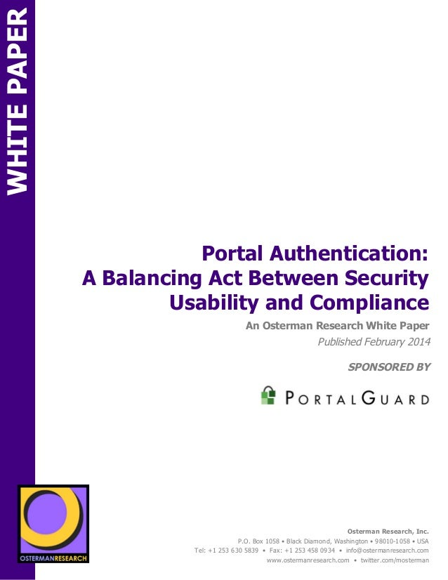Portal Authentication: A Balancing Act Between Security Usability and Compliance