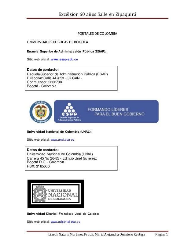 Excélsior 60 años Salle en Zipaquirá Lizeth Natalia Martinez Prada; Maria Alejandra Quintero Reatiga Página 1 PORTALES DE ...