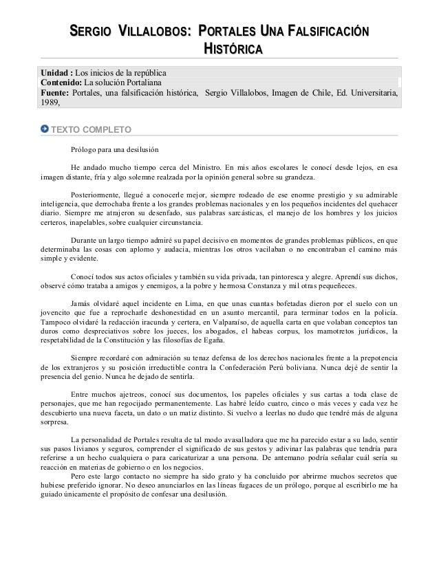 SSERGIOERGIO VVILLALOBOSILLALOBOS: P: PORTALESORTALES UUNANA FFALSIFICACIÓNALSIFICACIÓN HHISTÓRICAISTÓRICA Unidad : Los in...
