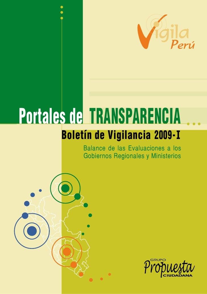 Portales de TRANSPARENCIA       Boletín de Vigilancia 2009 - I            Balance de las Evaluaciones a los            Gob...