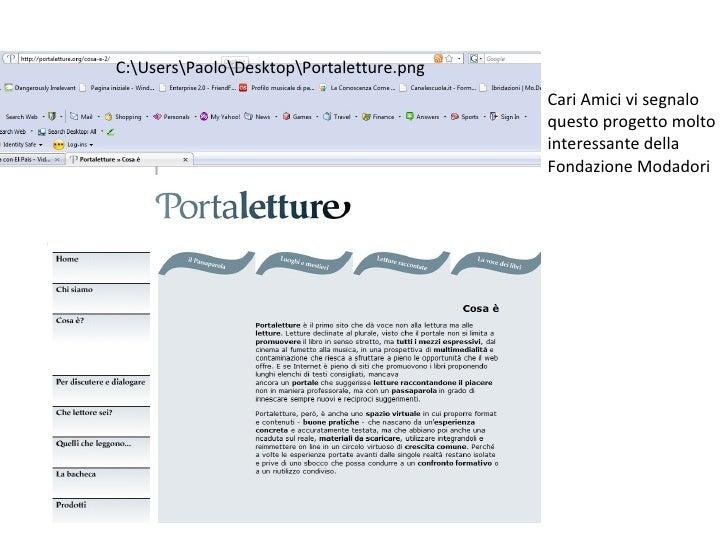 C:UsersPaoloDesktopPortaletture.png                                           Cari Amici vi segnalo                       ...