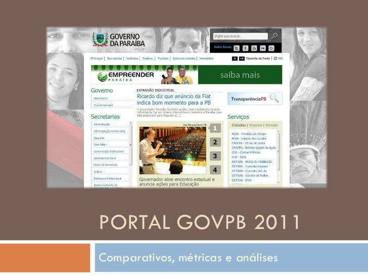 Portal govpb 2011 - Comparativos, métricas e análises