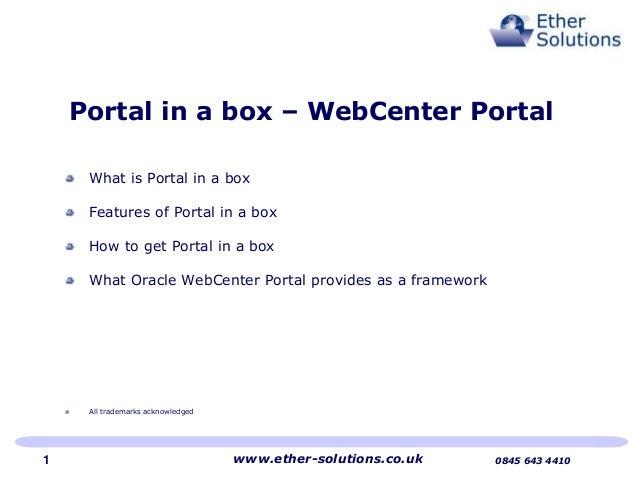 Portal in a box   web center portal