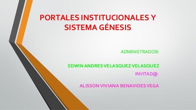 Portal institucional y genesis