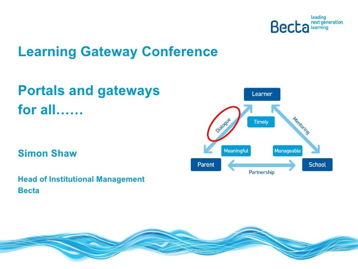 Learning Gateway Conference Portals and gateways for all…… Simon Shaw Head of Institutional Management Becta