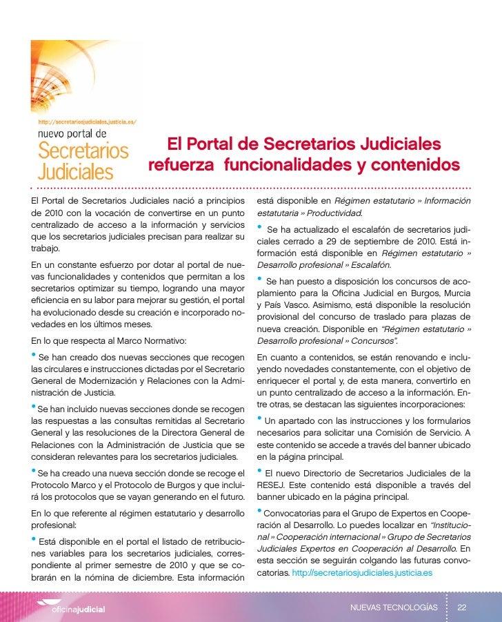 El Portal de Secretarios Judiciales                               refuerza funcionalidades y contenidosEl Portal de Secret...