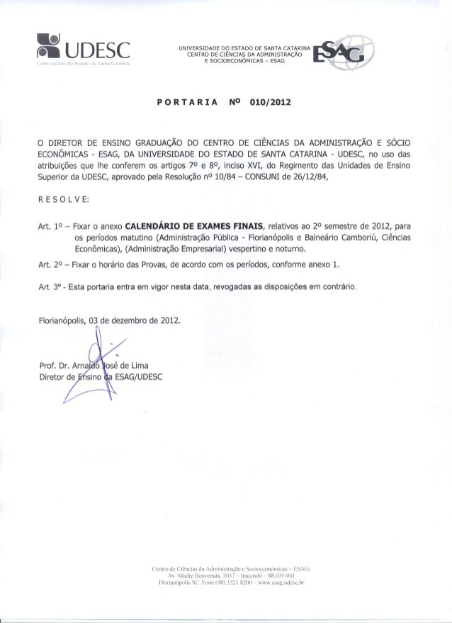 Portaria Exames Finais ESAG 10.2012