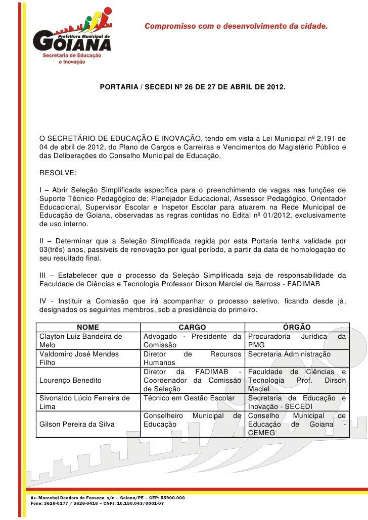 Portaria SECEDI nº 26 de 27 de abril de 2012