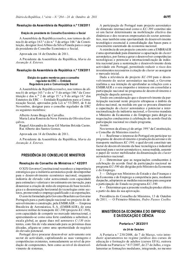 4695  Diário da República, 1.ª série — N.º 204 — 24 de Outubro de 2011 Resolução da Assembleia da República n.º 138/2011 E...