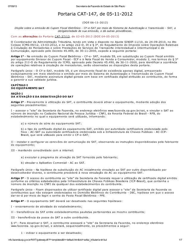 Portaria cat 147, de 05-11-2012 com alterações da portaria cat-37