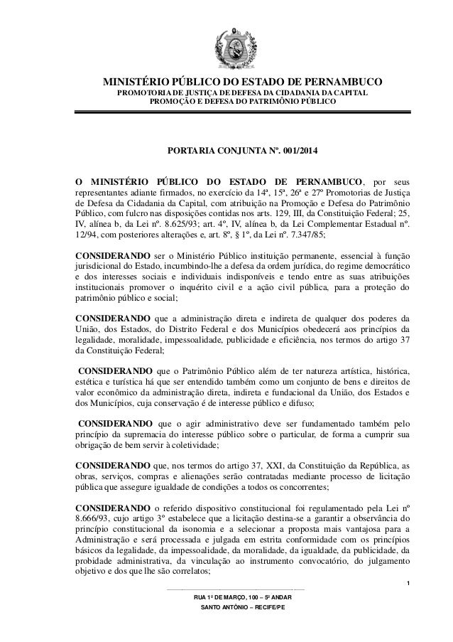 MINISTÉRIO PÚBLICO DO ESTADO DE PERNAMBUCO PROMOTORIA DE JUSTIÇA DE DEFESA DA CIDADANIA DA CAPITAL PROMOÇÃO E DEFESA DO PA...