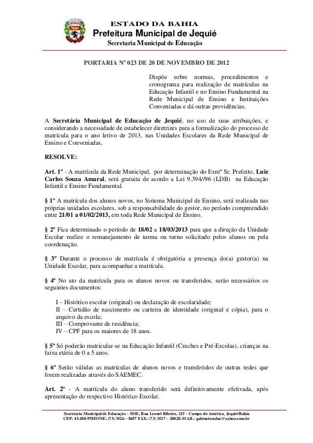 ESTADO DA BAHIA                      Prefeitura Municipal de Jequié                             Secretaria Municipal de Ed...