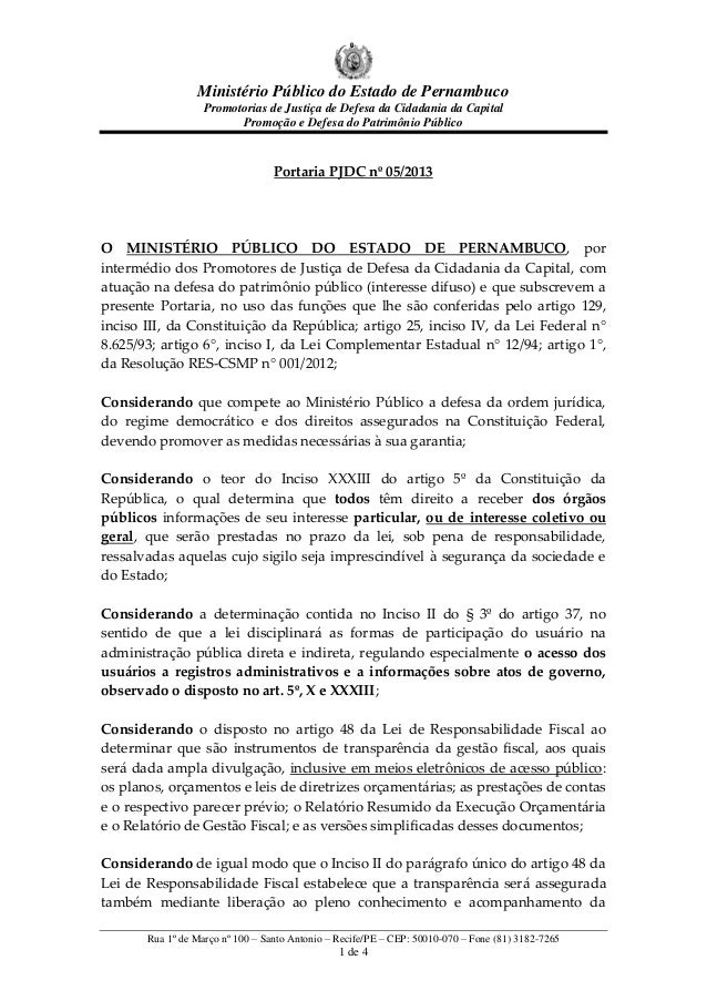Ministério Público do Estado de Pernambuco Promotorias de Justiça de Defesa da Cidadania da Capital Promoção e Defesa do P...