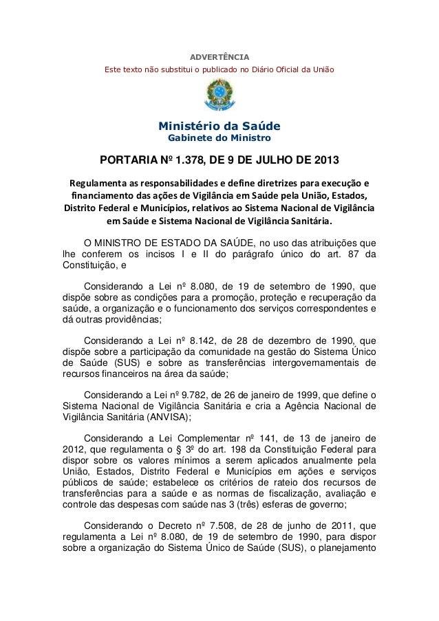 ADVERTÊNCIA Este texto não substitui o publicado no Diário Oficial da União  Ministério da Saúde Gabinete do Ministro  POR...