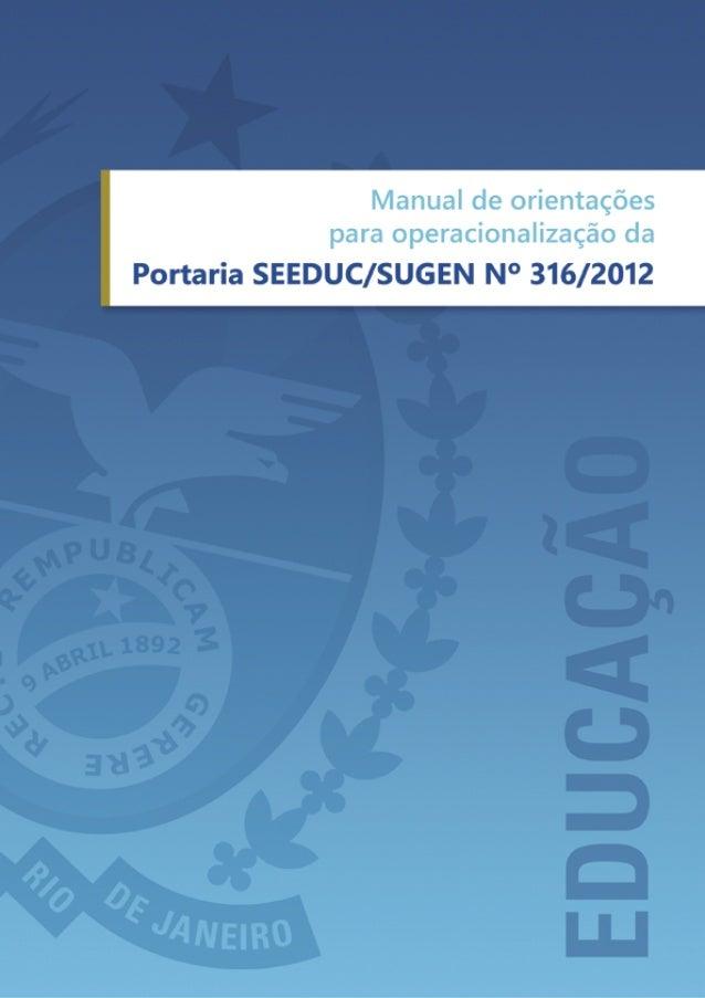 Manual de Opreacionalização - Portaria 316-2012 - Avaliação Escola Pública