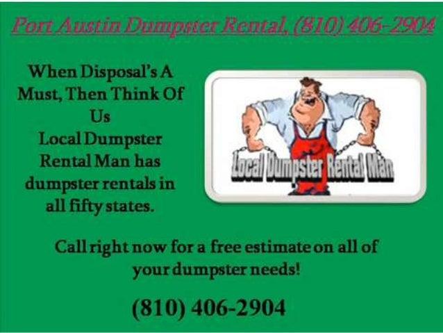 Port austin dumpster rental 810 406-2904
