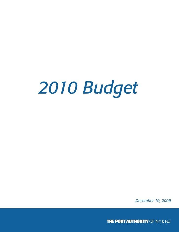 Port Authority Budget 2010