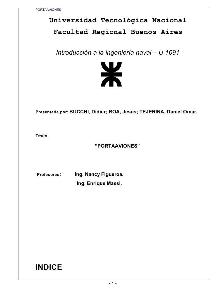 PORTAAVIONES             Universidad Tecnológica Nacional           Facultad Regional Buenos Aires             Introducció...