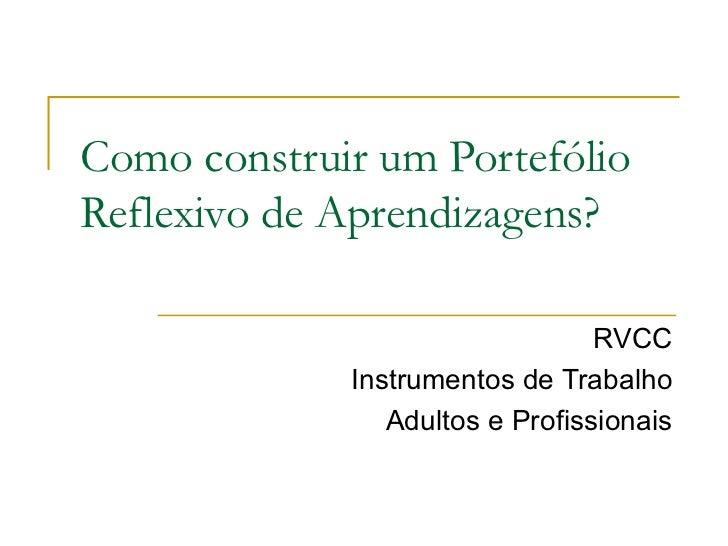 Como construir um Portefólio Reflexivo de Aprendizagens? RVCC Instrumentos de Trabalho Adultos e Profissionais
