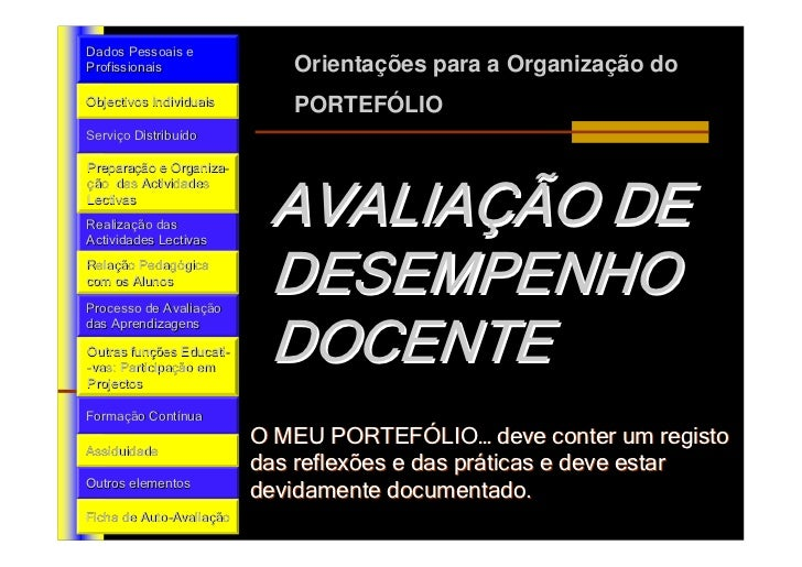 Dados Pessoais e Profissionais                  Orientações para a Organização do Objectivos Individuais         PORTEFÓLI...