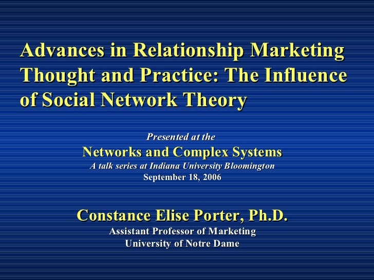 Porter   advances in relationship marketing thought and practice the influence of social network theory