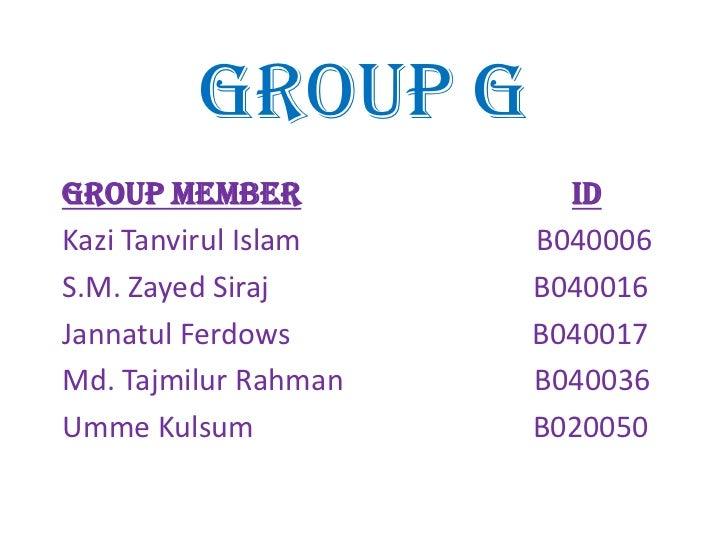Group GGroup Member            IDKazi Tanvirul Islam   B040006S.M. Zayed Siraj      B040016Jannatul Ferdows      B040017Md...