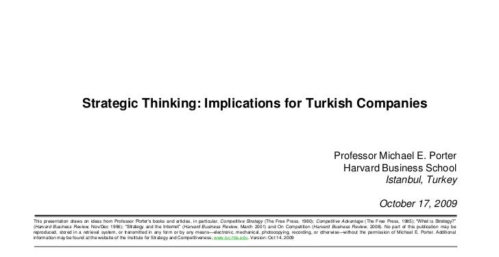 Strategic Thinking: Implications for Turkish Companies