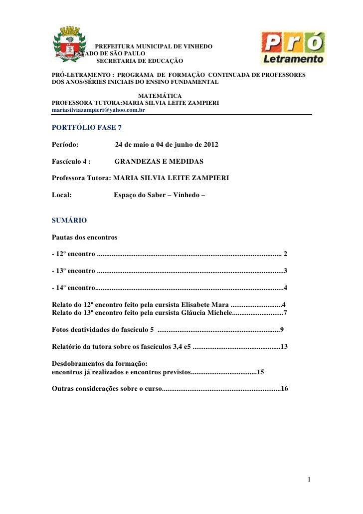 PREFEITURA MUNICIPAL DE VINHEDO          ESTADO DE SÃO PAULO                SECRETARIA DE EDUCAÇÃOPRÓ-LETRAMENTO : PROGRAM...