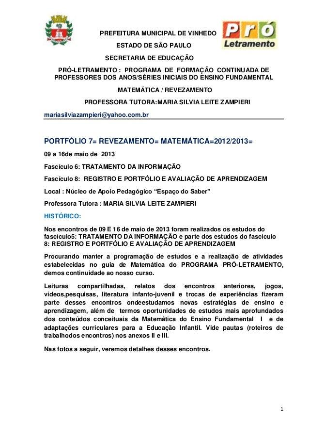 1PREFEITURA MUNICIPAL DE VINHEDOESTADO DE SÃO PAULOSECRETARIA DE EDUCAÇÃOPRÓ-LETRAMENTO : PROGRAMA DE FORMAÇÃO CONTINUADA ...