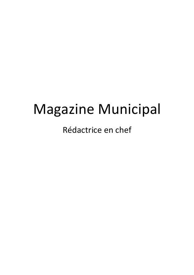 Magazine Municipal Rédactrice en chef