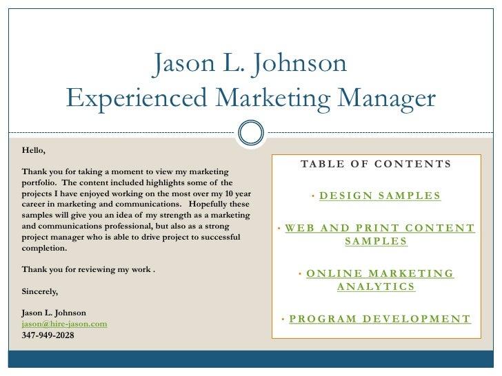 Jason L. Johnson              Experienced Marketing Manager Hello,                                                        ...