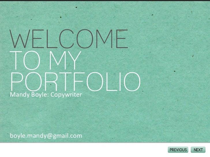Mandy Boyle: Copywriter Portfolio